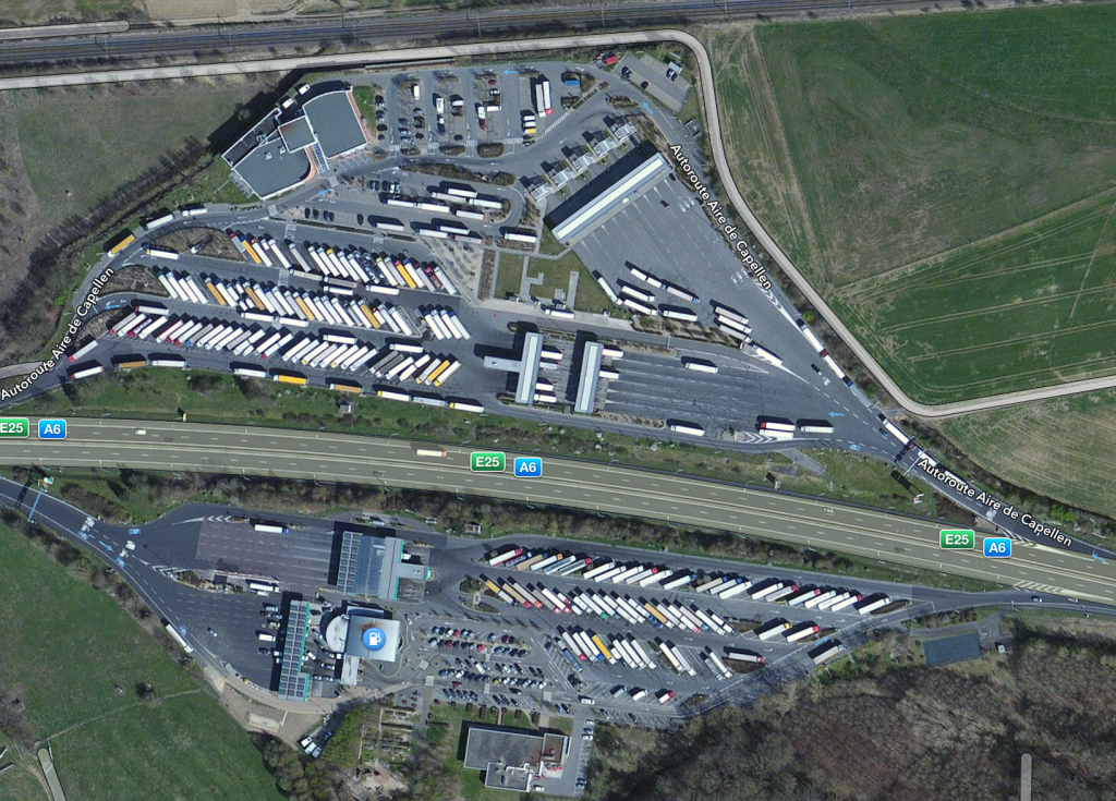Q8 gas station Aire de Capellen on A6/E25 (Source: Apple Maps)