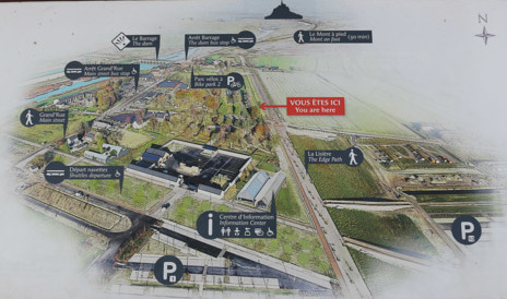 This picture shows the enormous facilities built at the visitor center and hotel complex before Mont Saint-Michel