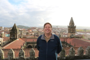 Walking on the granite roof-top of the Cathedral in Santiago de Compostella during a rare moment without rain