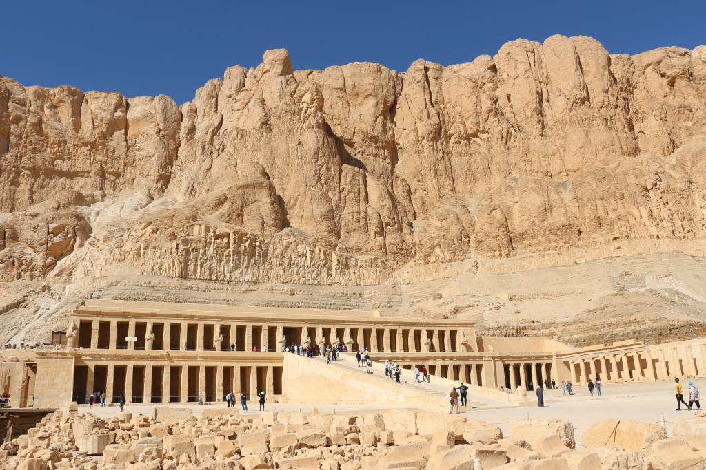 Walking through the Temple of Hatshepsut while being slowing roasted by the brutal sun in Luxor