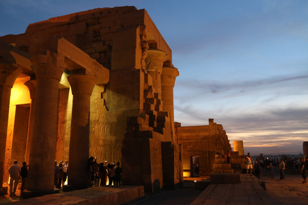 Visiting the beautiful small Temple of Kom Ombo twice: First early in the morning without any other tourists. Then again during the evening.